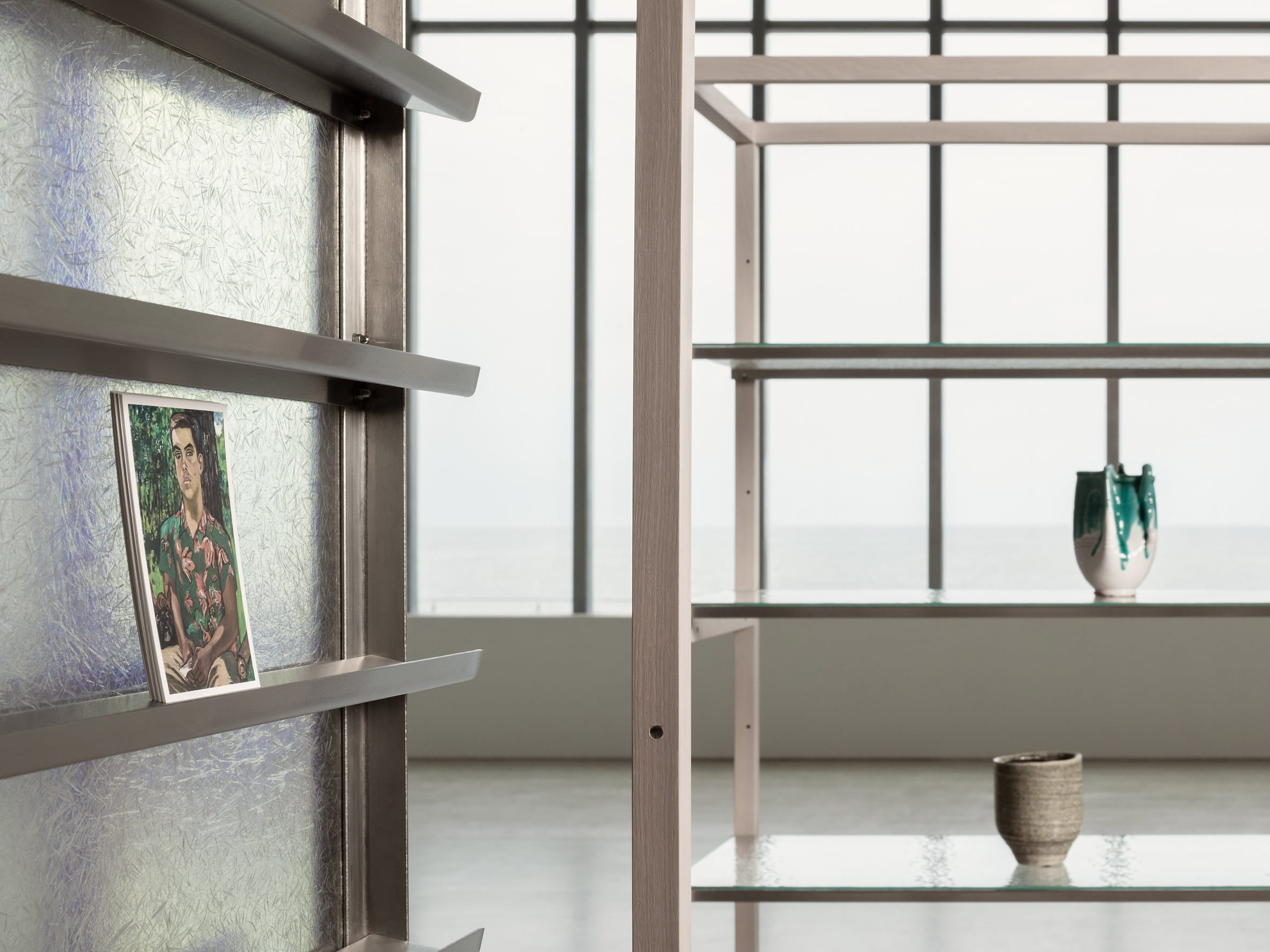 Fibreglass-backed shelf displaying artwork in Turner Contemporary Store