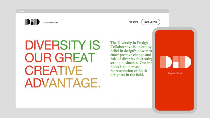 Diversity in Design website header by Work & Co