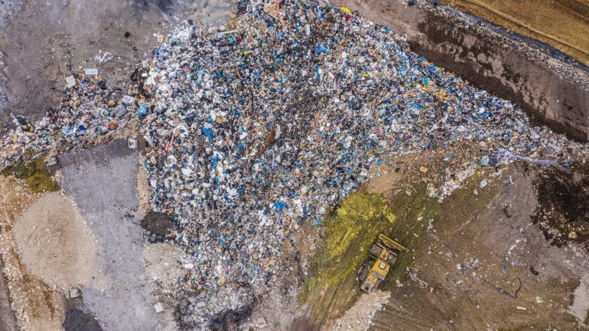 An aerial view of a clothing land fill site