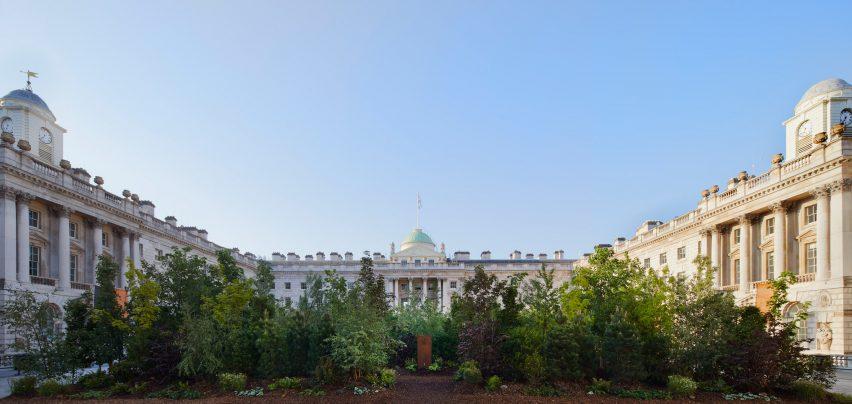 Courtyard view of Es Devlin London Design Biennale pavilion