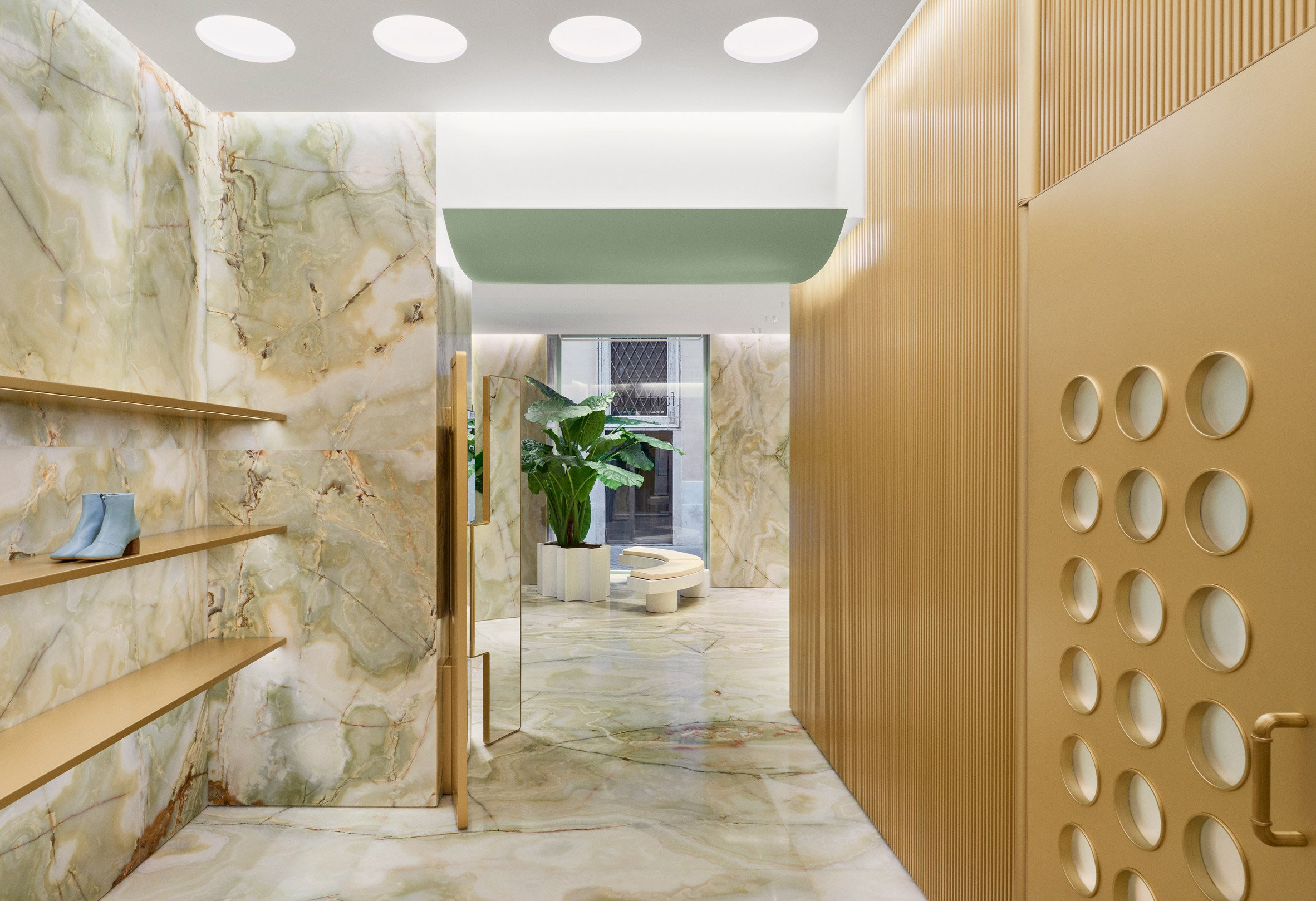 Circular details are built into doors