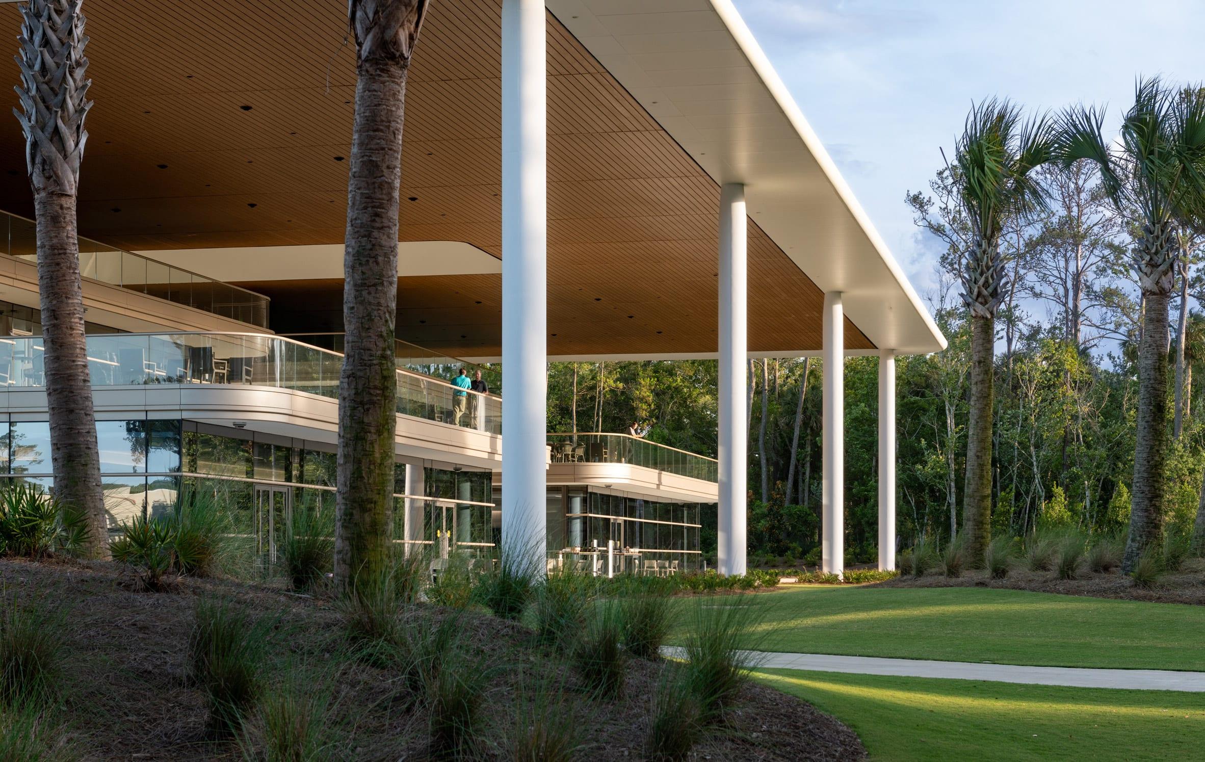 White columns surround the PGA Tour headquarters