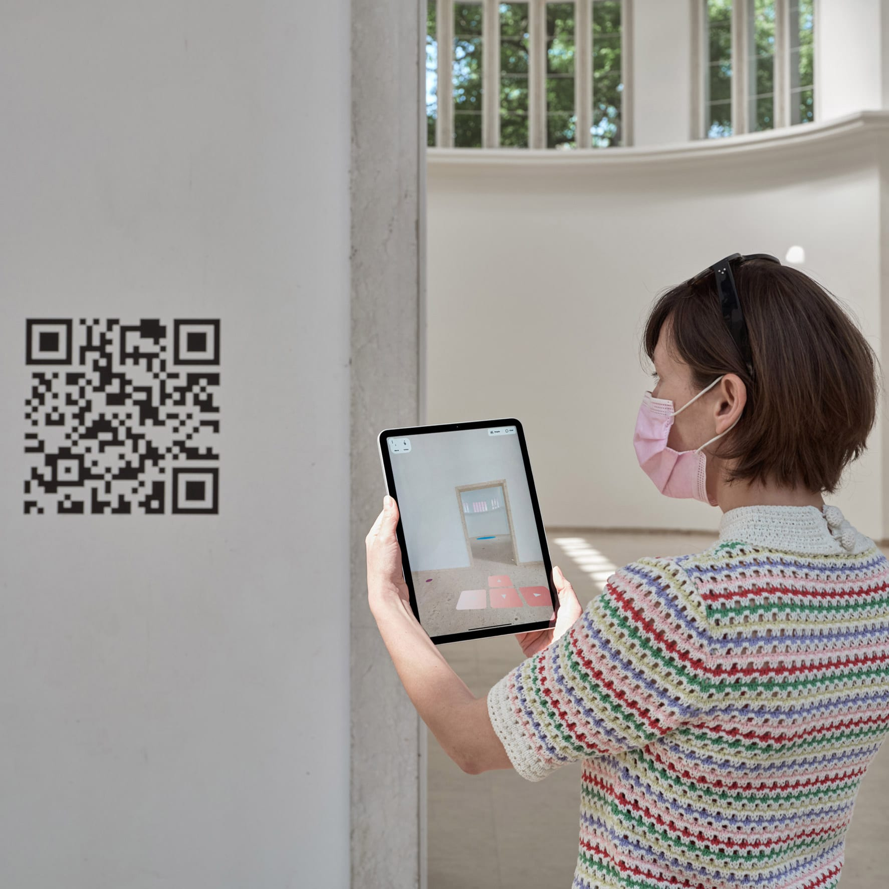 QR code is pictured on the wall of the German Pavilion
