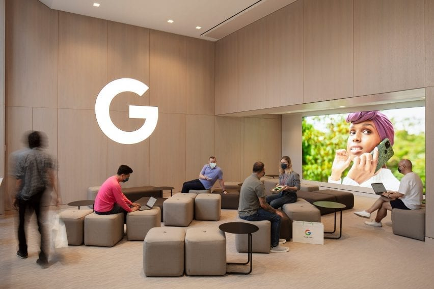 Casual sitting in the Google Store