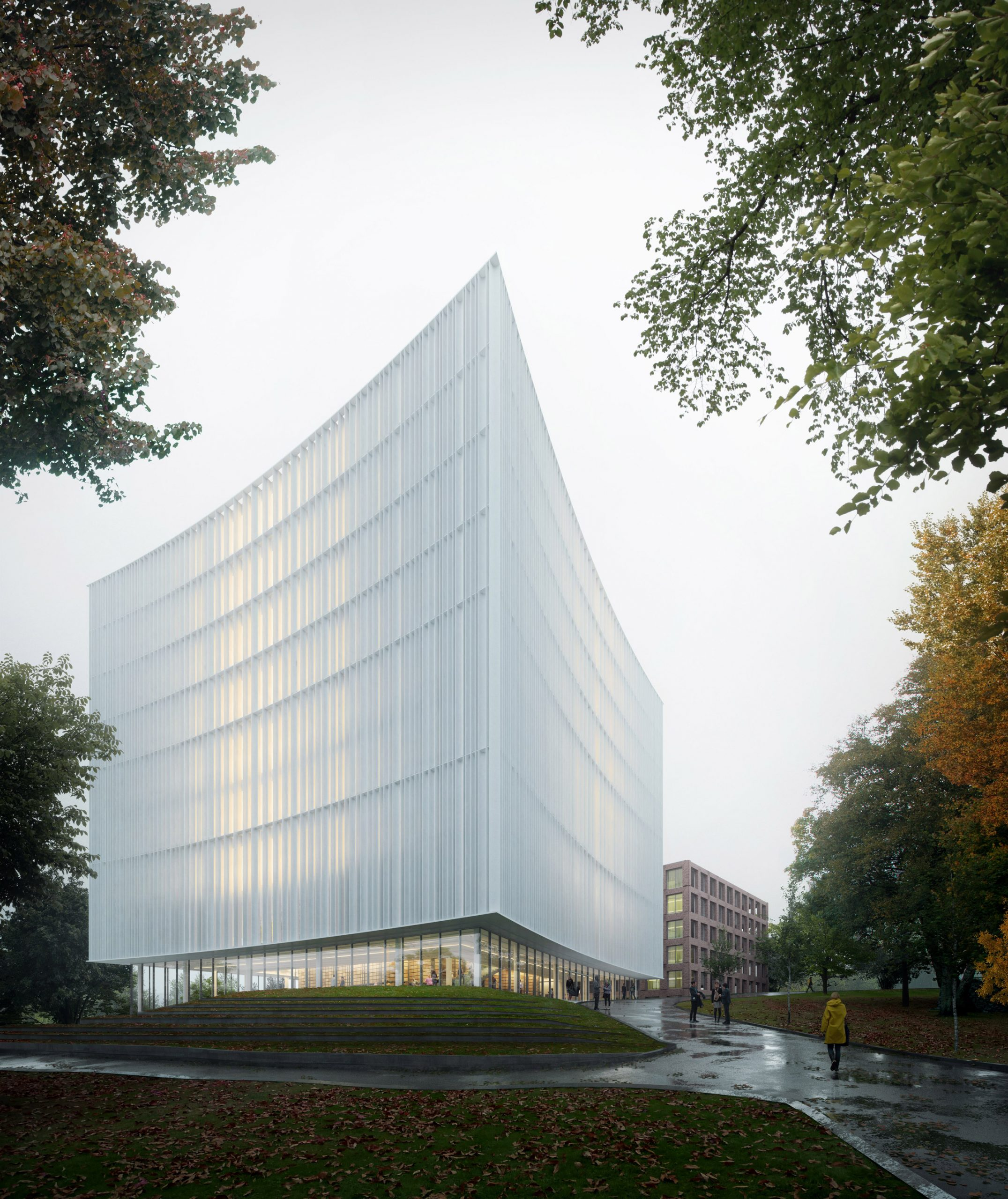 Exterior for new Gothenburg University library designed by Cobe