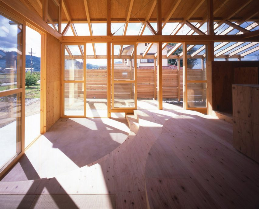 Doma floor entrance in timber Hashimoto house