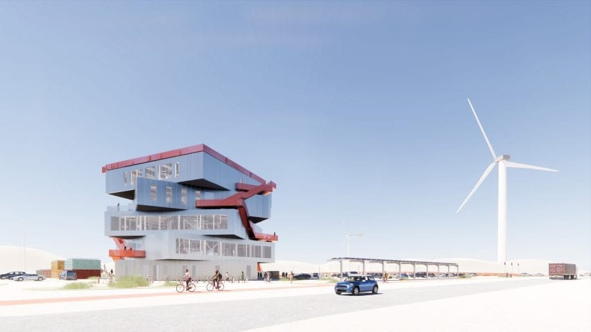 A visual of an exhibition centre for the Port of Rotterdam