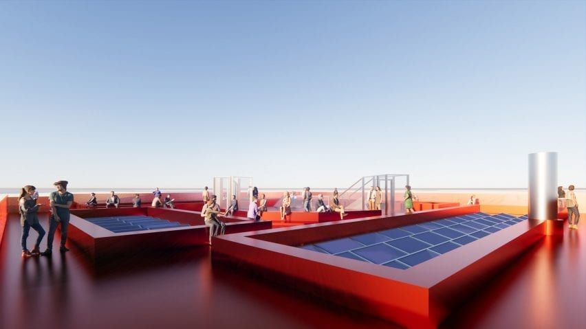 A visual of a red rooftop terrace