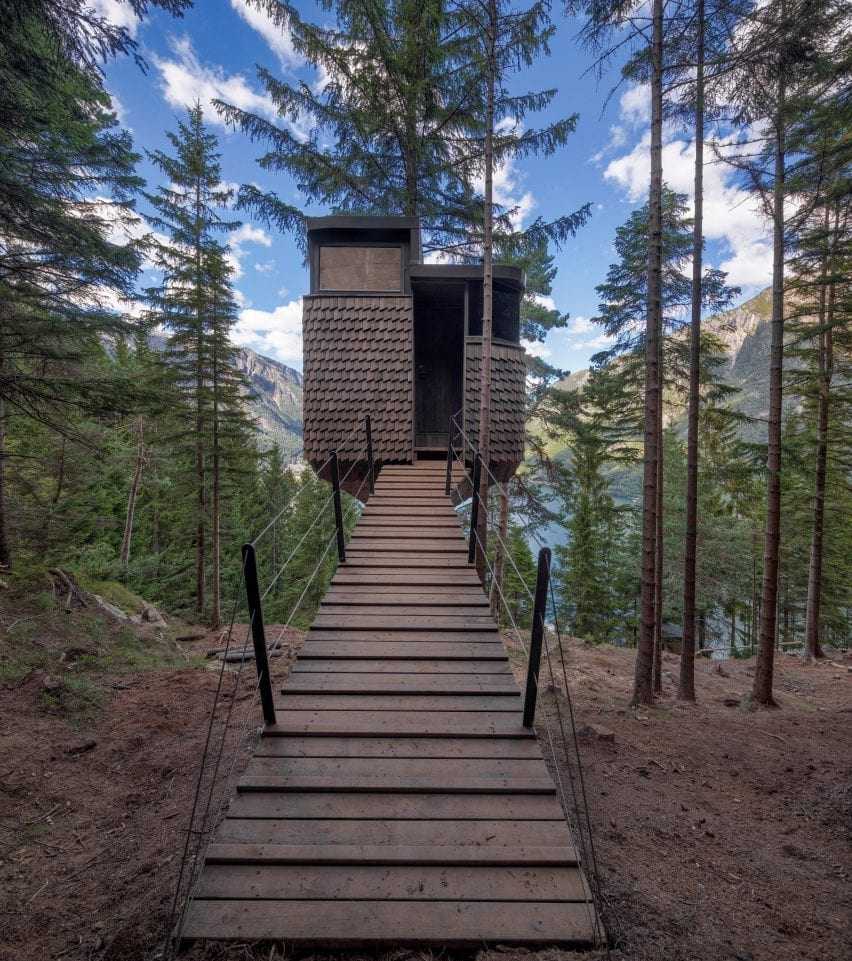 The woodnest treehouses are located in a pine forest