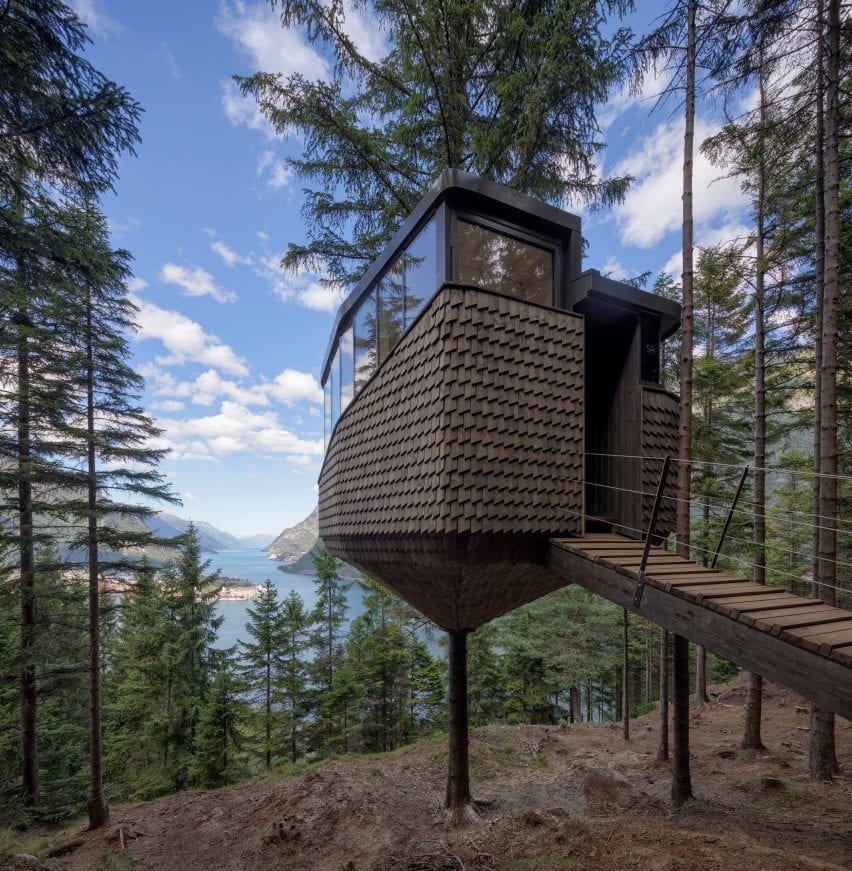 The woodnest treehouses overlook the fjord