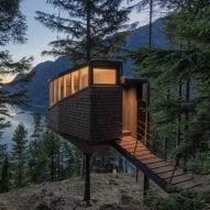 Helen & Hard hangs Woodnest treehouses from pine trees above Norwegian fjord