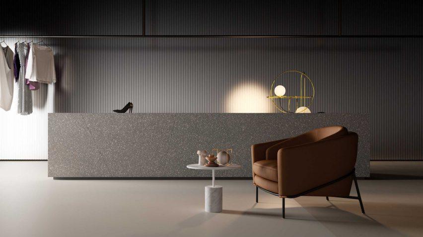 HI-MACS solid surface material in terrazzo grigio colour