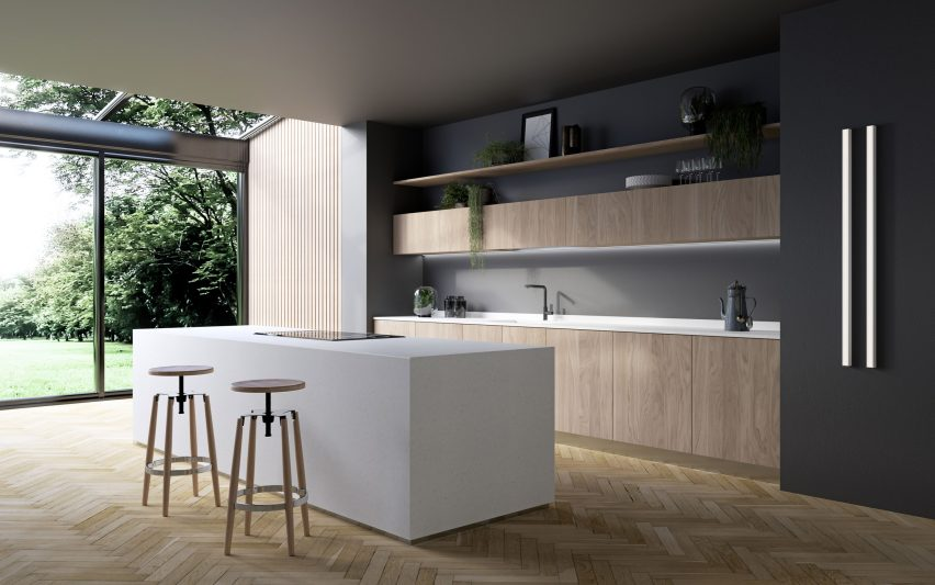 HI-MACS solid surface material in a kitchen