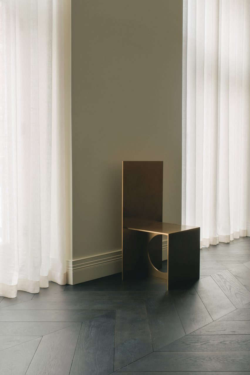 A gold chair in the London office of Hollie Bowden