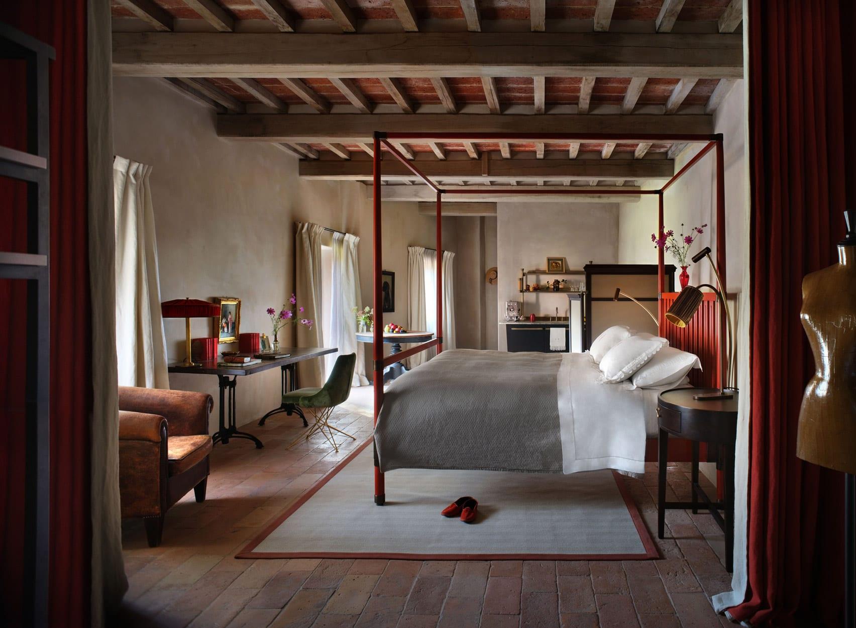 One of the Hotel Castello di Reschio's 36 guest rooms