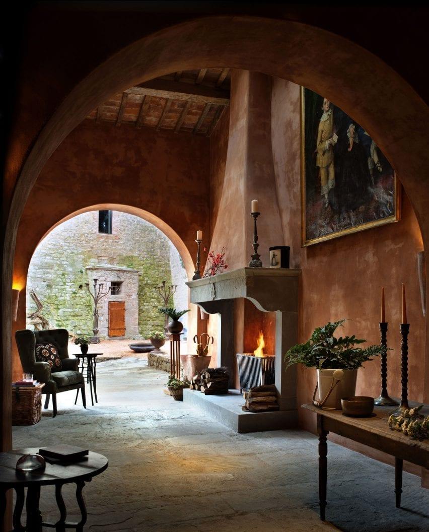 Mud room at Hotel Castello di Reschio