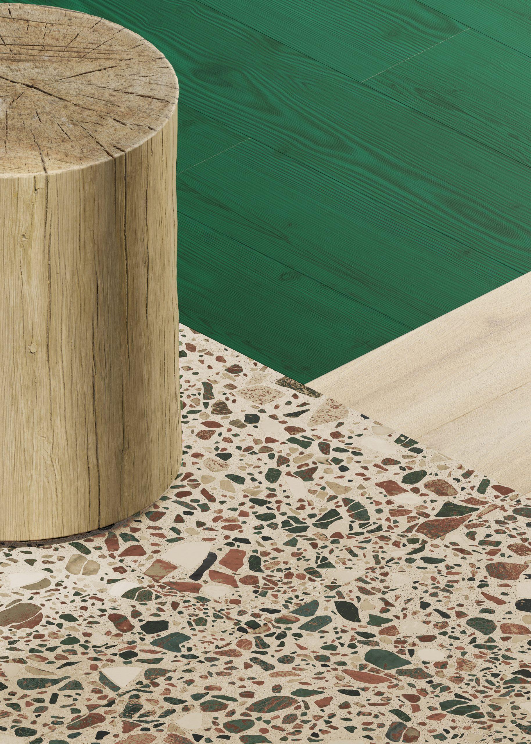 Wood- and terrazzo-like vinyl flooring