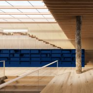 A library with wood-like vinyl flooring by Tarkett