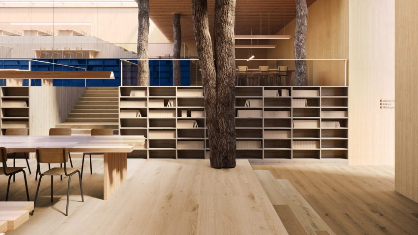 A library with wood-like vinyl flooring