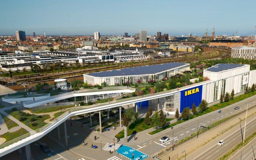 An aerial visual of an IKEA store in Copenhagen