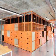 Orange powder-coated steel