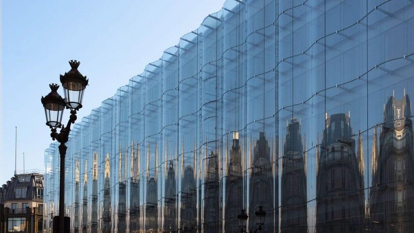 An undulating glass facade