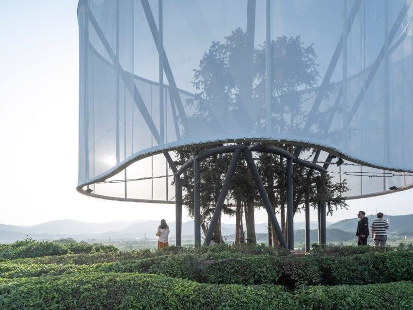 Lightweight steel structure encased in fabric
