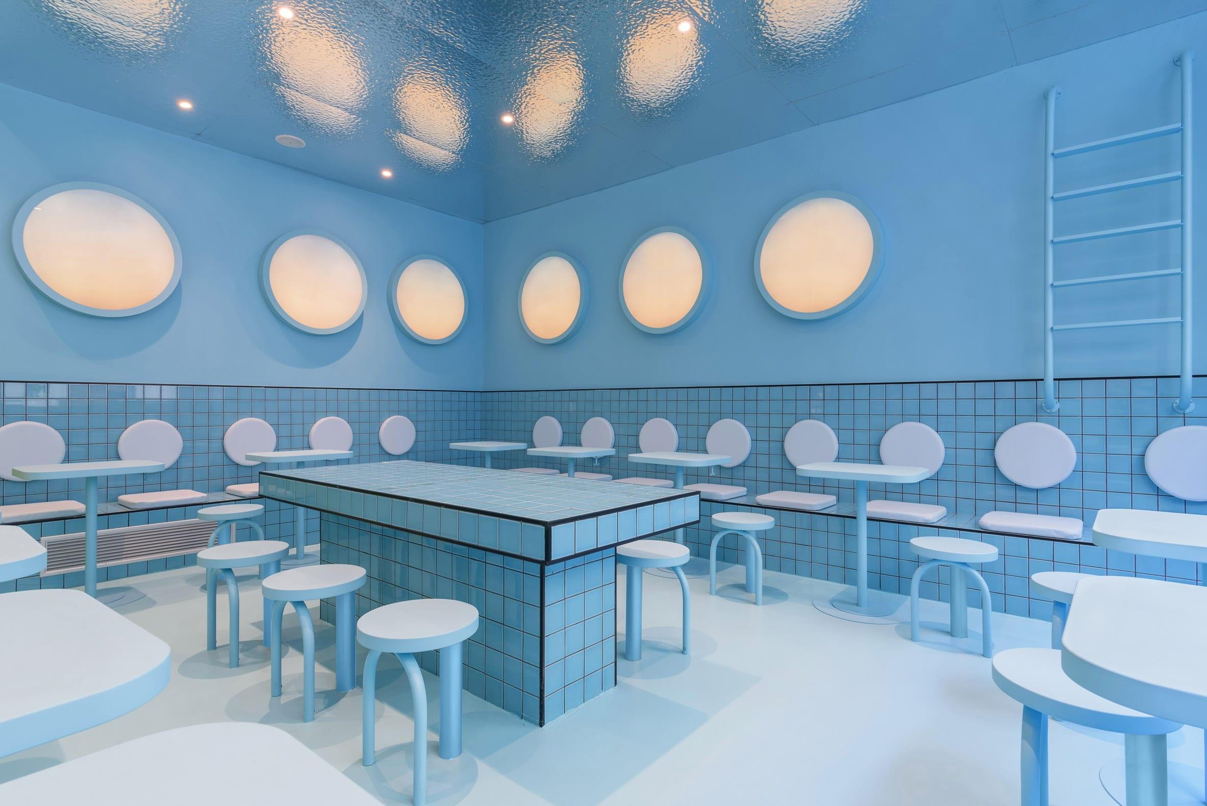 Masquespacio designed a swimming pool seating area
