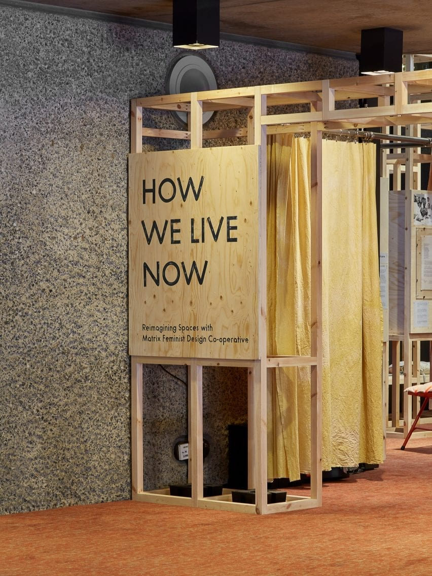 Entry to How We Live Now exhibition about the Matrix feminist cooperative