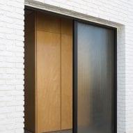 Brick wall with glass door