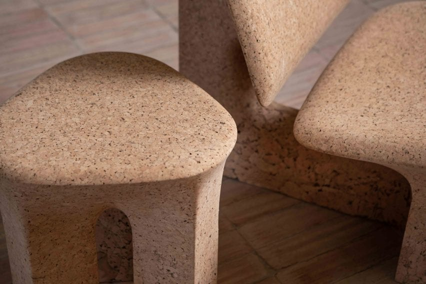 Fine grain in the tops of the Burnt Cork chair and stool