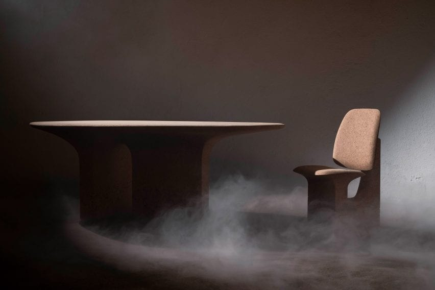 Cork table and chair in smoky room