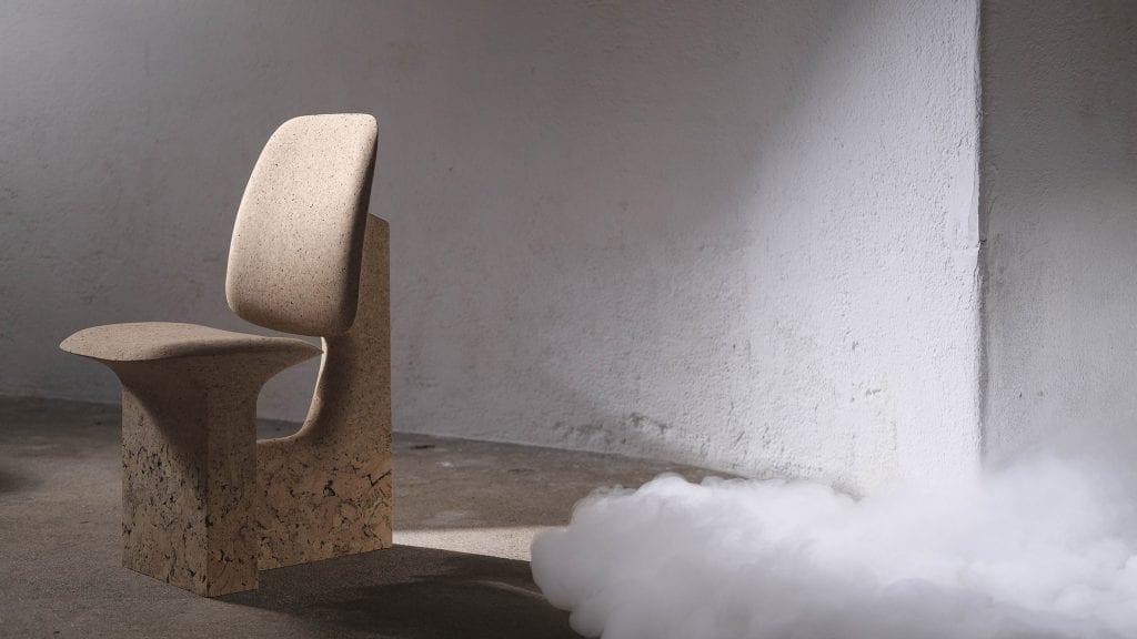 Noé Duchaufour-Lawrance creates furniture showcasing beauty of discarded burnt cork