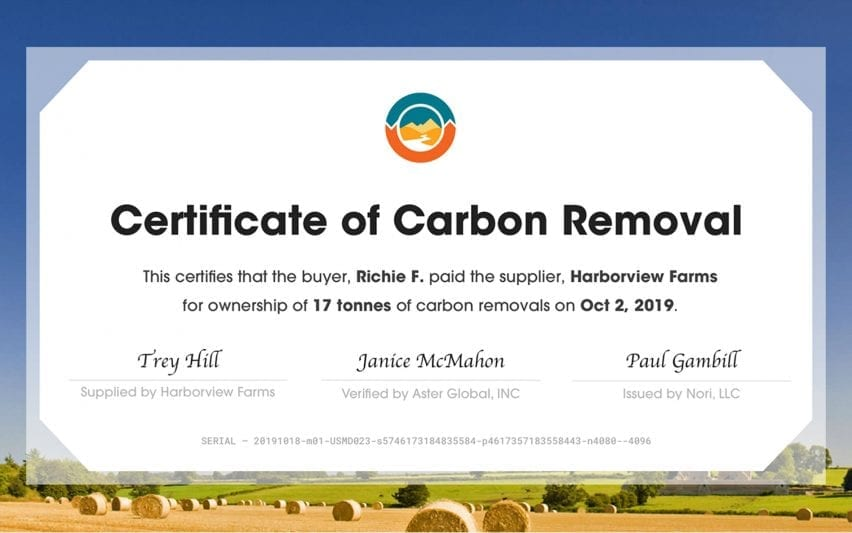 Nori Removal Tonne (NRT) certificate