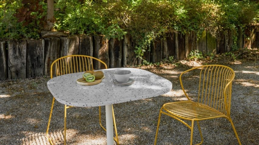 Not Out outdoor chair and Notable table by True Design
