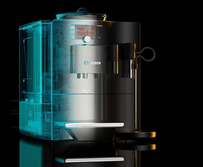 A wireframe render of a Bosch coffee machine