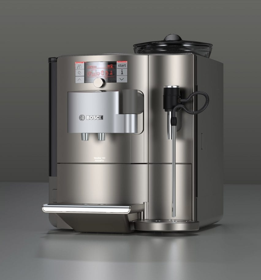 A visualisation of a silver coffee machine