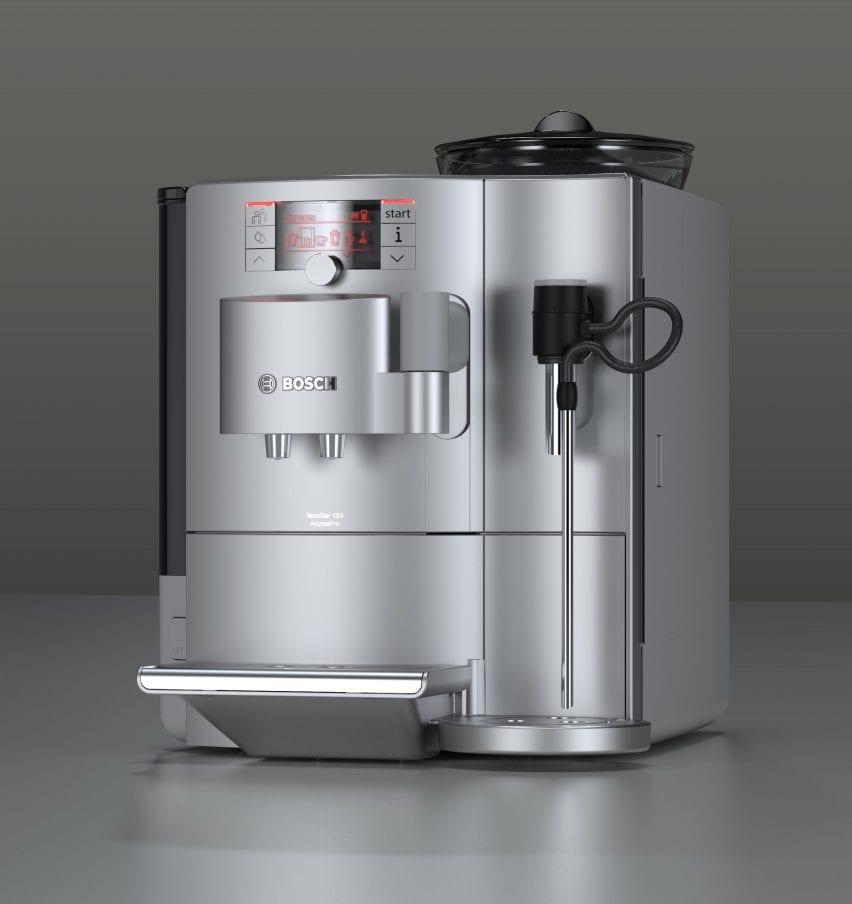A render of a silver coffee machine