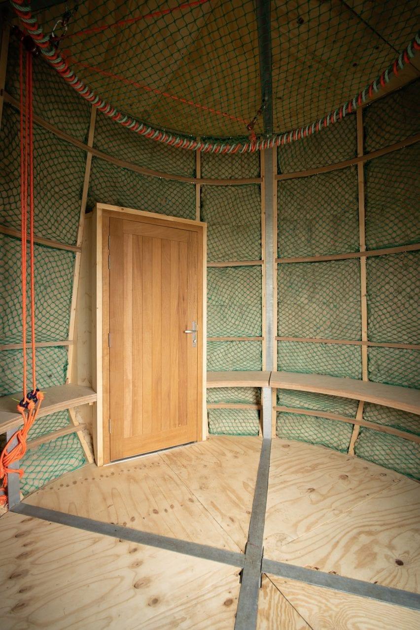 Circular bench in hut