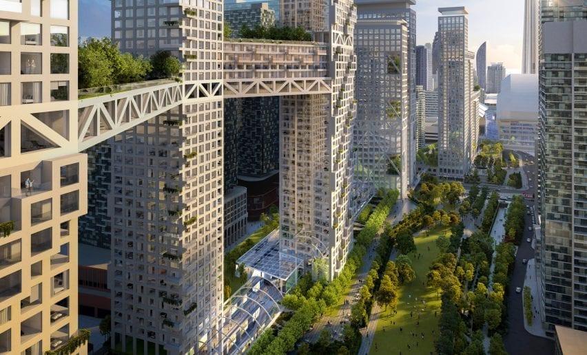 Garden bridges of development planned by Safdie Architects