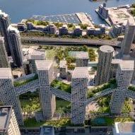 Safdie Architects designs interconnected housing blocks alongside park over train tracks