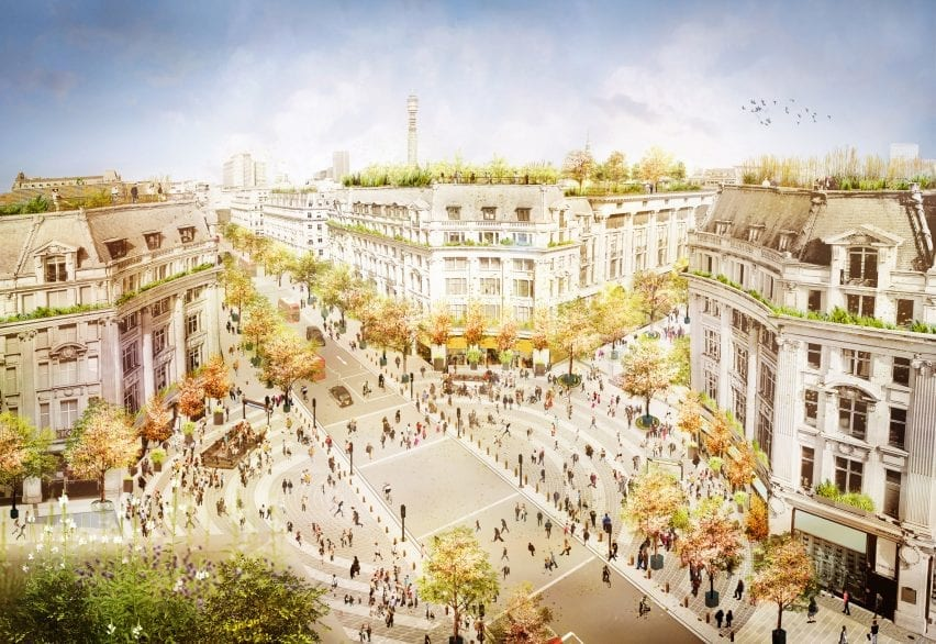 A visual of Oxford Circus pedestrianised