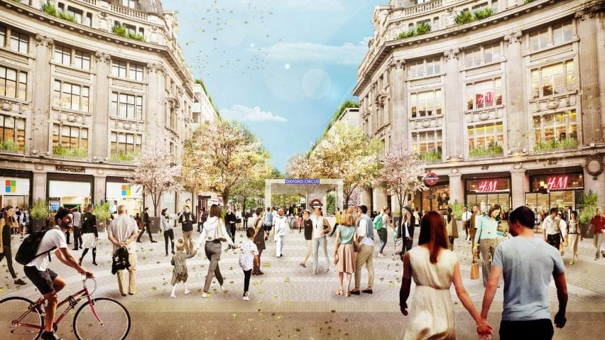 A visual of pedestrianised Oxford Circus