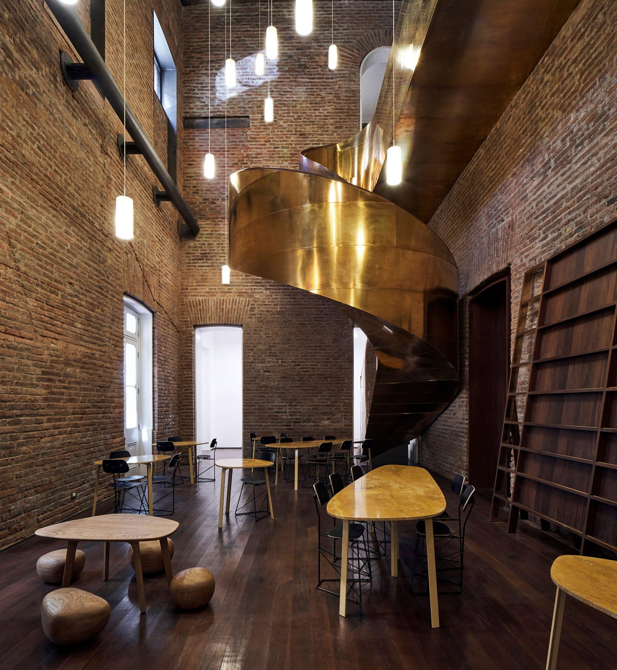 Bronze helical staircase in Interiors of Palacio Pereira by Cecilia Puga, Paula Velasco and Alberto Moletto