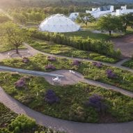 a geodesic dome is located in the gardens