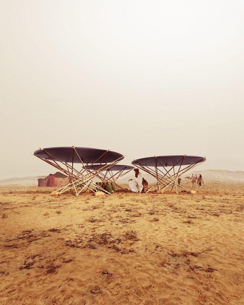 Render of portable solar water distiller by Henry Glogau in the desert