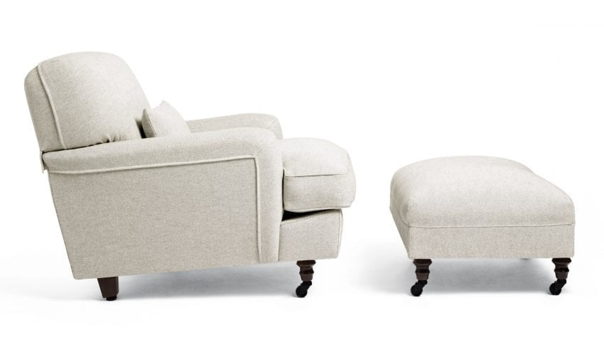 Raffles armchair and pouf in cream