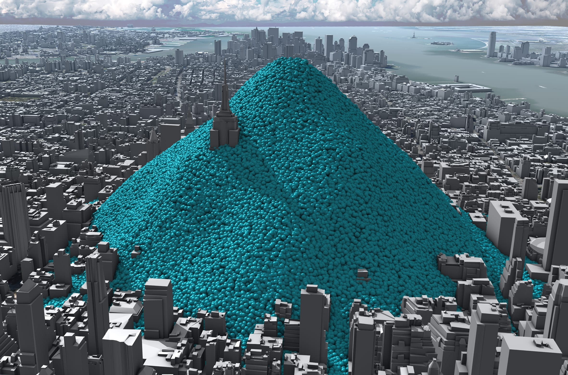 Still from data visualisation by Real World Visuals showing New York City's emissions