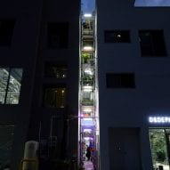 The exterior lights up at night