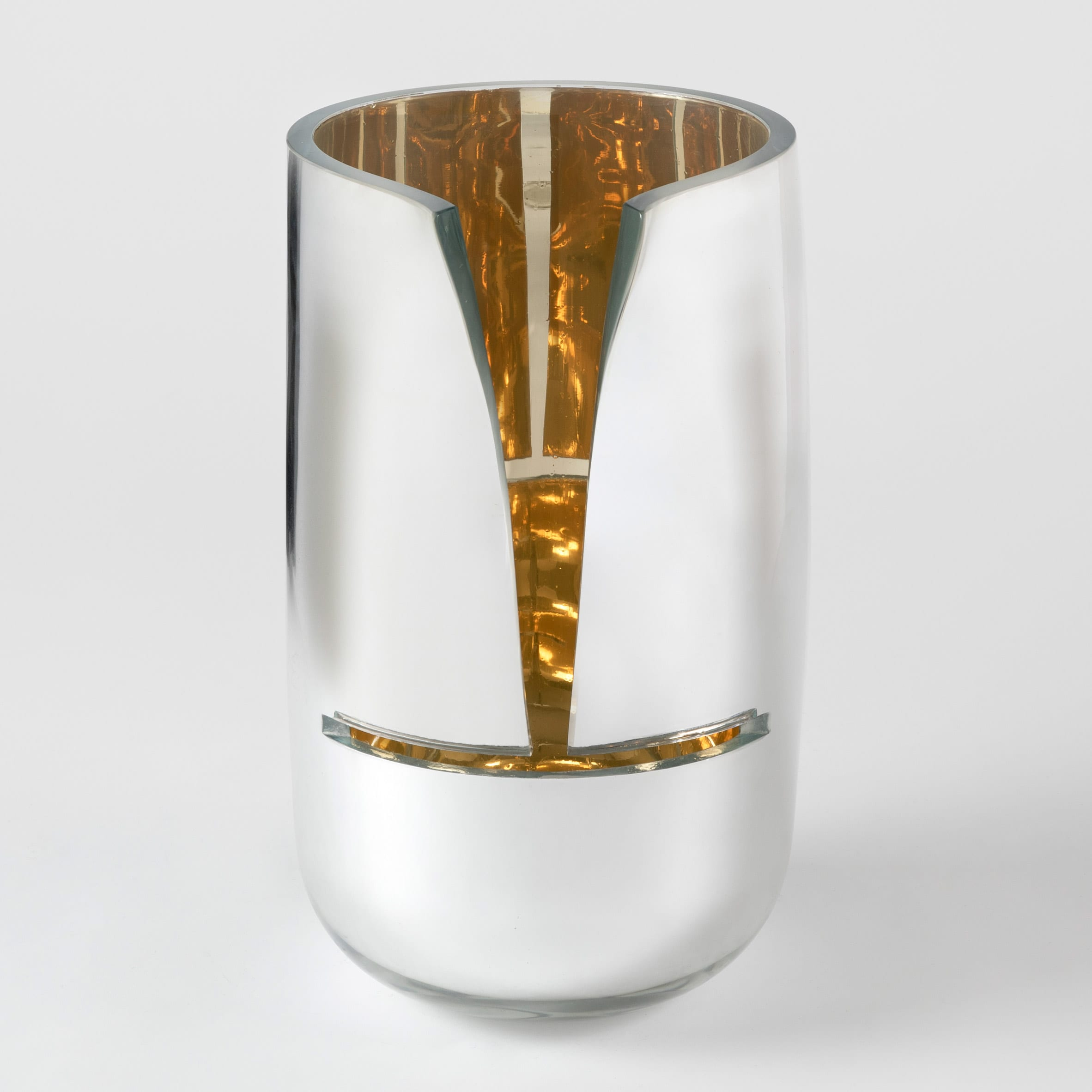 Cut Mirror Vase by Front